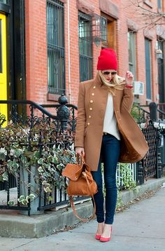 """""""Jazz up a neutral outfit with some pops of color from accessories, like your shoes or hat."""" -- Helena Glazer, Brooklyn Blonde"""