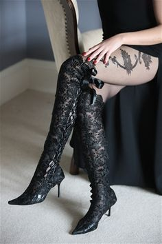 Black Over The Knee Lace Wedding Boots