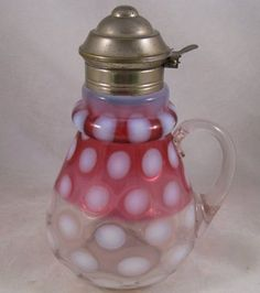 Antique Hobbs Brockunier Ringneck Cranberry Opalescent Coin Dot  Syrup Pitcher