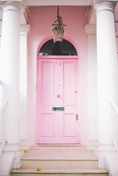 A Pink Front Door in Notting Hill, London