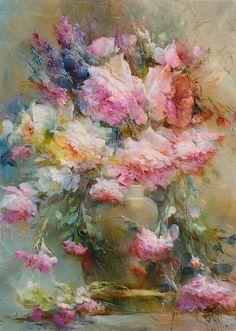 Картина пионы «В классической вазе»