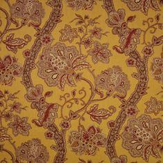 MI Casa Saffron Yellow Floral Cotton Drapery Fabric by P. Kaufmann - 50976   BuyFabrics.com