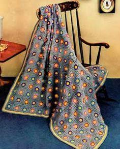 """Free pattern for Vintage """"Flower Garden Afghan""""!"""
