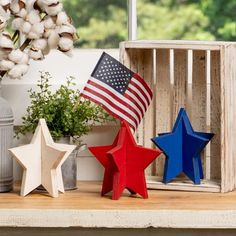 Patriotic Decorations, Patriotic Crafts, Holiday Decorations, Holiday Ideas, Old Mirrors, Light Garland, July 4th, Fourth Of July Decor, Unfinished Wood