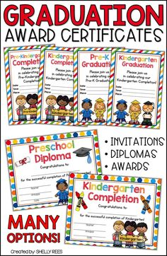 Graduation Certificates Kindergarten, Preschool, Pre K, and elementary graduation awards that are printable and fun! Pre K Graduation, Kindergarten Graduation, Pre Kindergarten, Letters Kindergarten, Preschool Certificates, Award Certificates, Creative Teaching, Teaching Math, Math Teacher