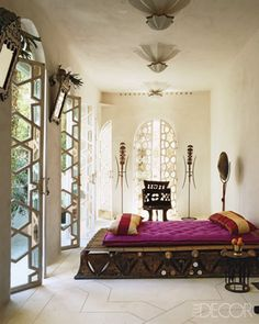 Bedroom. Fashion designer Liza Bruce's bohemian home in Morocco. Elle Decor