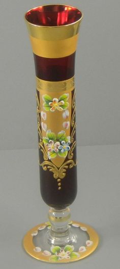 Ruby Glass Czech Bud Vase Hand Painted Enamel Gold Gild Vintage Cut Glass, Glass Art, Bohemia Glass, Pots, Antique Glassware, Victorian Art, Gold Gilding, Venetian Glass, Glass Collection
