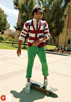 "Donald Glover aka ""Childish Gambino"" in GQ. This look has my name written all over it. Teen Boy Fashion, Mens Fashion, Stylish Mens Haircuts, Names Girl, Donald Glover, Childish Gambino, Renaissance Men, Raining Men, Green Pants"