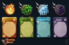 "Fantasy style Cards and icons for Elemental Heroes game for ""Elemental Heroes"" MMO RPG game. Game Card Design, Board Game Design, Trading Card Template, Card Ui, Hero Games, Button Game, Game Props, Game Icon, Game Concept"