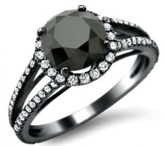2.39ct Black Round Diamond Engagement Ring 18k Black Gold