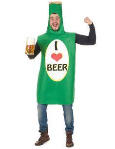 Bierflasche Kostüm für Erwachsene: Dieses Bierflaschen-Kostüm für Erwachsene besteht aus einer Kombination (Hemd, Hose und Schuhe nicht im Lieferumfang enthalten). Die grüne Kombination bildet eine Bierflasche mit goldfarbenem...