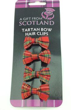 Red Tartan Alice Bow Hair Clips Girls Scottish Accessories