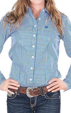 Cinch Women's Royal and White Stripe Long Sleeve Western Shirt | Cavender's