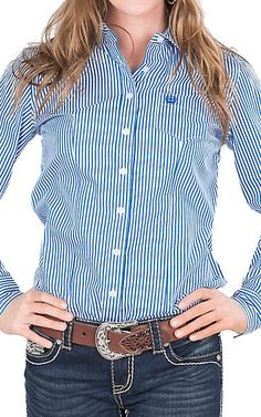 5ab6dac307a82 Cinch Women s Royal and White Stripe Long Sleeve Western Shirt