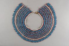 Xhosa collar from the Mpondomise tribe, mid This colour combination was mainly worn by young adults. Beadwork, Beading, Xhosa, African Beads, Young Adults, Museum Collection, British Museum, Timeline, Color Combinations