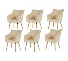 Lot de 6 chaises de salle à manger simili-cuir crème pieds bois cds04279
