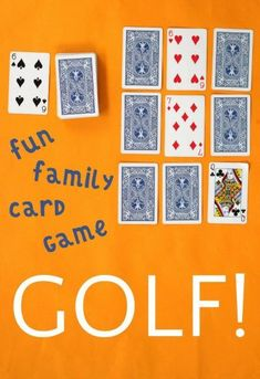 Golf Card Game: Easy and Fun Family Game - How to play golf card game. It is also known as nine holes and is an easy card game to learn and fu - Family Games Indoor, Family Card Games, Fun Card Games, Card Games For Kids, Playing Card Games, Party Games, Group Card Games, Game Cards, Grammar School