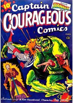 Captain Courageous Comics No Comix Book Movie Ace Comics, Sci Fi Comics, Comics Story, Horror Comics, Comics Girls, Funny Comics, Comic Book Plus, Comic Book Covers, Comic Books
