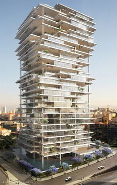 Built by Herzog & de Meuron in Beirut, Lebanon Beirut Terraces rethinks the concept of the skyscraper, creating a vertical village composed of thin, elegant platfor - architecture Futuristic Architecture, Facade Architecture, Amazing Architecture, Contemporary Architecture, Installation Architecture, Futuristic City, Contemporary Design, Sustainable Architecture, Interesting Buildings