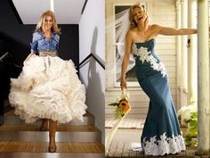 Evening dresses with lace inserts to denim