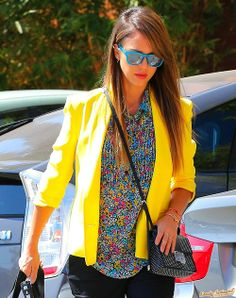 Jessica Alba // love this bright yellow blazer