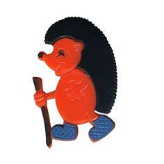 Freak Scene® Tiermotiv Anstecker ° DDR Anstecknadel ° Pins ° Brosche ° Motiv: Igel - orange - http://schmuckhaus.online/freak-scene/igel-orange-freak-scene-tiermotiv-anstecker-ddr