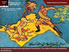 An old Japanese leaflet honoring Subhash Chandra Bose. The leaflet shows him decapitating the British lion #Indianhistoryinpics