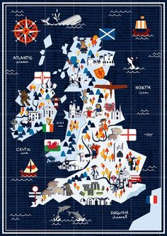Map showing things of interest in the British Isles, apparently aimed at children. Map showing things of interest in the British Isles, apparently aimed at children. Vintage Maps, Vintage Travel Posters, Pictorial Maps, Country Maps, Travel Illustration, Map Design, Travel Maps, City Maps, British Isles