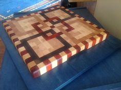 This one is made from maple, cherry wood, walnut and paduk. For Lili. End Grain Cutting Board, Wood Cutting Boards, Butcher Block Cutting Board, Cheese Boards, Wood Creations, Wood Ideas, Woodworking Ideas, Wood Blocks, Logs