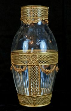 Dore Bronze Mounted Etched Crystal Crystal Glassware, Crystal Vase, Antique Interior, Bronze, Beautiful Interior Design, Opaline, Antique Glass, Accent Pieces, Decorative Accessories