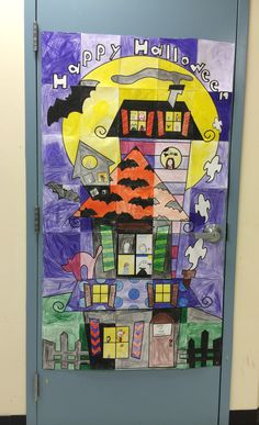 Halloween door poster --kids color, add their faces to the windows, cut out, put together and hang up on the classroom door!
