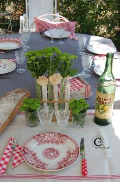 Table laid for lunch in my garden.