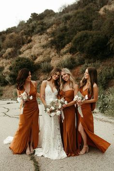 Cheap Bridesmaid Dresses Online, Wedding Bridesmaid Dresses, Burnt Orange Bridesmaid Dresses, Burnt Orange Weddings, Different Bridesmaid Dresses, Bohemian Bridesmaid, Bridal Party Dresses, Blue Weddings, Bridesmaid Shoes