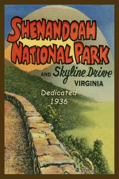Quilt Block of vintage image printed on cotton. Ready to sew.  Shenandoah National Park Set 1. Single 4x6 block $4.95. Set of 4 blocks with pattern $17.95.