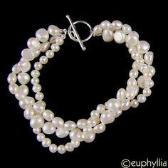 Euphoria Boutique Triple Row Freshwater Pearl Bracelet
