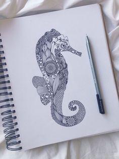 Beautiful sea horse. Unknown artist