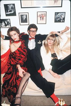 Yves Saint Laurent with his muses Loulou de la Falaise and Betty Catroux, 1978.