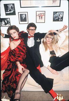 It's the ultimate fashion gang! Yves Saint Laurent with muses Loulou de la Falaise & Betty Catroux, 1978 #CocktailHour