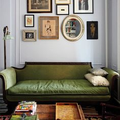 Contemporary retro living room, luxe green sofa