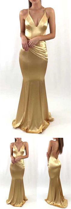 Spaghetti V-neck Soft Satin Long Mermaid Prom Dresses, Newest Long Prom Dresses, PD0306 #sofitbridal #promdresses #mermaid #softsatin #gold
