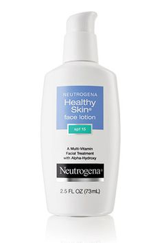 Neutrogena Healthy Skin Face Lotion SPF 15. This silky lotion contains glycolic acid to repair existing fine lines and dark spots, and sunscreen and antioxidants to prevent further damage