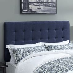 Biscuit Denim Darkwash Fabric, Foam, and Hardwood Upholstered Buttonless Tufted Headboard (