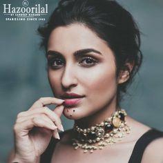Pareeniti Chopra sizzles in #HazoorilalBySandeepNarang jewellery in an exclusive photo shoot @bazaarbridein . #HazoorilalCelebrities #BridalJewellery #Navratan #Polki #IndianJewellery #KundanPolki #Hazoorilal