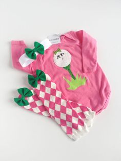 Girl Golf One Piece Little Caddy with argyle baby leg warmers and matching bow