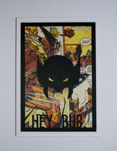 """$28.00 Wolverine 'Hey, Bub.'  Framed comic silhouette, 5""""x7"""".  Made from card stock and a vintage X-Men comic page."""