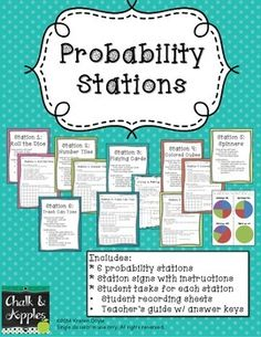 Probability Stations - 6 center activities to teach probability hands-on! Math Stations, Math Centers, Math Resources, Math Activities, Probability Games, Math Groups, Montessori Math, 7th Grade Math, Math Projects