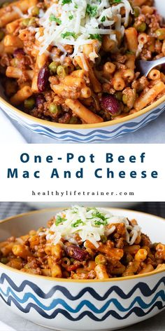 Beef mac and cheese is one of those delicious comfort foods that is loaded with well-seasoned ground beef, healthy veggies, soft pasta and melted cheese. #easydinnerrecipe #One-potbeefmacandcheese #onepotrecipes #comfortfoods #healthydinnerrecipe #Beefmacandcheese