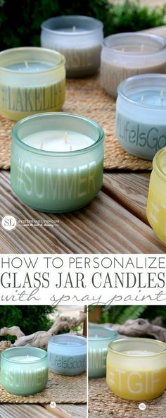 DIY Sea Glass Personalized Candle Jars #michaelsmakers