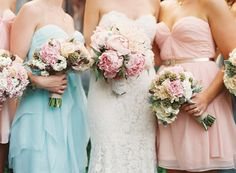 bridesmaids in pink + blue | Adam Barnes #wedding