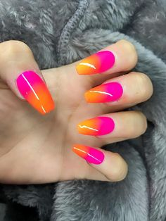 neon ombre pink orange nails | Press on nails | False nails | Glue on nails | Nail art | Stiletto Nails | Acrylic nails| Almond Nails >> About the product << Get styled with this beautiful Press on nails, made from gel polish and sealed with a UV gel topcoat to ensure quality. ♥